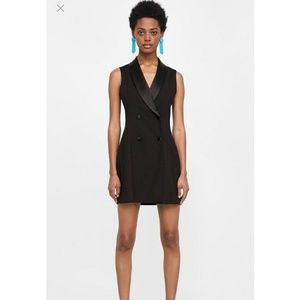 Zara black tuxedo Waistcoat Blazer dress
